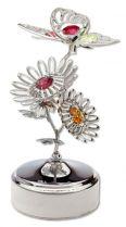 Бабочка, музыкальная шкатулка серебристого цвета с цветными кристаллами купить