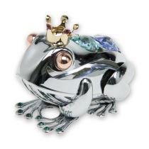 Лягушка, миниатюра cеребристого цвета с цветными кристаллами купить
