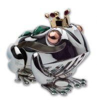 Лягушка, миниатюра серебристого цвета с цветными кристаллами купить