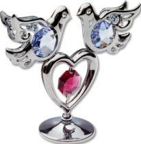 Голуби, миниатюра серебристого цвета с цветными кристаллами купить