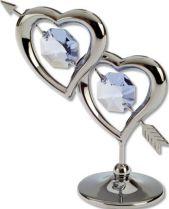 """Миниатюра Crystocraft """"Два сердца """", серебристого цвета с голубыми кристаллами, сталь купить"""