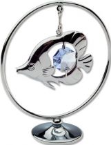 """Миниатюра Crystocraft """"Тропическая рыбка"""", серебристого цвета с голубыми кристаллами, сталь купить"""