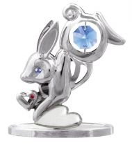 """Миниатюра Crystocraft """"Кролик"""", серебристого цвета с голубыми кристаллами, сталь купить"""