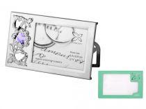 """Фото рамка Crystocraft """"Цветы"""" серебристого цвета с сиреневыми кристаллами, сталь купить"""