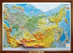Карта России рельефная, физическая в деревянной раме купить