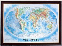 Карта Мира рельефная, физическая в деревянной раме купить