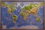 Карта мира рельефная, физическая в серебристой раме купить