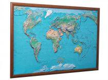 Карта мира рельефная, физическая в деревянной раме 130x197 см купить