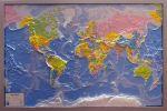 Карта мира рельефная, политическая в серебристой раме купить