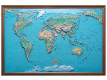 Карта мира рельефная, физическая в деревянной раме 90х140 см купить