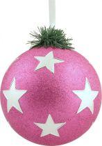 B 120-CARBALL-406/4 Украшение Шар со звездами Mister Christmas (d=120 мм; цвет:розовый,серебряный) купить
