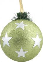 B 120-CARBALL-408/4 Украшение Шар со звездами Mister Christmas(d=120мм; цвет:салатовый,серебряный) купить