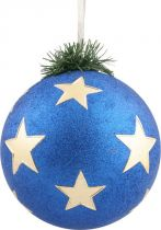 B 150-CARBALL-401/3 Украшение Шар со звездами Mister Christmas (d=150 мм; цвет: синий,золотой) купить