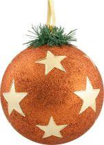 B 150-CARBALL-409/3 Украшение Шар со звездами Mister Christmas (d=150 мм; цвет: оранжевый,золотой) купить