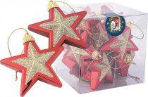 B 60-STAR-100/403 Набор украшений Звездочки Mister Christmas (d=60 мм; цвет:красный,золотой) купить