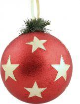 B 90-CARBALL-400/3 Украшение Шар со звездами Mister Christmas (d=90 мм; цвет: красный,золотой) купить