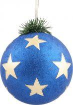 B 90-CARBALL-401/3 Украшение Шар со звездами Mister Christmas (d=90 мм; цвет: синий,золотой) купить