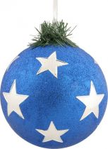 B 90-CARBALL-401/4 Украшение Шар со звездами Mister Christmas (d=90 мм; цвет: синий,серебряный) купить