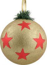 B 90-CARBALL-403/0 Украшение Шар со звездами Mister Christmas (d=90 мм; цвет: золотой,красный) купить