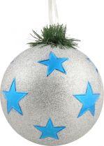 B 90-CARBALL-404/1 Украшение Шар со звездами Mister Christmas (d=90 мм; цвет: серебряный,синий) купить