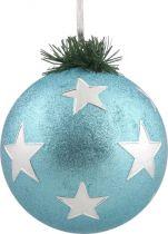 B 90-CARBALL-407/4 Украшение Шар со звездами Mister Christmas (d=90 мм; цвет: голубой,серебряный) купить