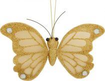 CCB-7/1 Украшение Бабочка Mister Christmas (h=22 см; цвет: золотой) купить