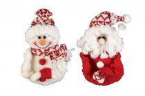 HM-005R Мягкая игрушка Дед Мороз, Снеговик Mister Christmas (h=12,5 см; цвет: красный) купить