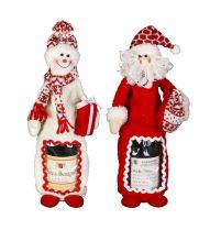 HM-009R Игрушка-упаковка для бутылки Дед Мороз, Снеговик Mister Christmas (h=38 см; цвет: красный) купить