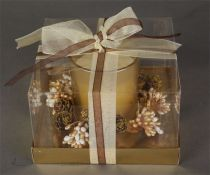 KK-9-G Свеча декорированная Mister Christmas (цвет: золотой; h=8 см) купить