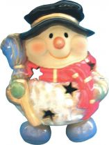 KN-004/2 Подсвечник керамический в деревянной коробке Снеговик Mister Christmas (h=13 см) купить