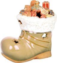 KN-005/1 Подсвечник керамический в деревянной коробке Башмак Mister Christmas (h=13 см) купить