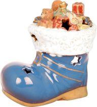 KN-005/3 Подсвечник керамический в деревянной коробке Башмак Mister Christmas (h=13 см) купить