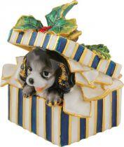SHS-002/2 Шкатулка Собака в праздничной коробке Mister Christmas (h=8 см; цвет: синий) купить