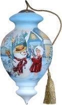 US 432-SN-DG Украшение Девочка и снеговик Mister Christmas (h=17 см) купить