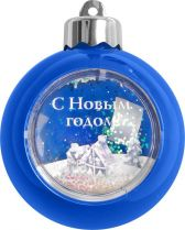 WB-B Елочный шар с рамкой Mister Christmas (d=80 мм, цвет: голубой) купить