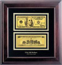 HB-090 Набор подарочный в деревянной раме 100 долларов Banconota Dorata (2 банкноты) купить