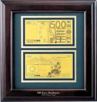 HB-092 Набор подарочный в деревянной раме 500 евро Banconota Dorata (2 банкноты) купить