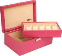RR1014 Шкатулка для часов Renzo Romagnoli (цвет:розовый; кожа; для 5 часов) купить