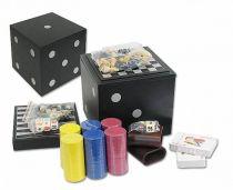 Игровой набор из 4-х игр: шахматы, нарды, кости, покер - в черном боксе-кубе [TK295] купить