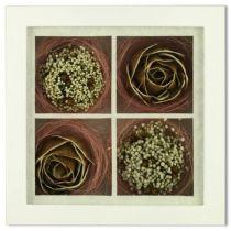 4 цветка из коры дерева в рамке [SF-F8X8NAT448/1] купить