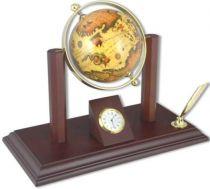 Глобус с подставкой для ручки и часами [SA042] купить