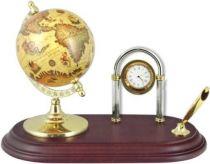Глобус с подставкой для ручки и часами [SA056] купить