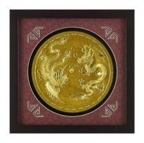 "Картина ""Золотая тарелочка дракон и феникс"" [XMS-2192] купить"
