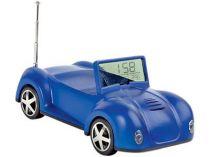 Подставка под мобильный телефон «Автомобиль» с радио, часами, термометром, датой, синяя. При звонке мобильного телефона у автомобиля мигают фары купить