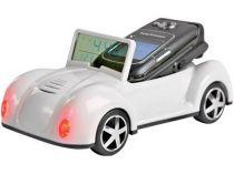Подставка под мобильный телефон «Автомобиль» с радио, часами, термометром, датой, белая. При звонке мобильного телефона у автомобиля мигают фары купить