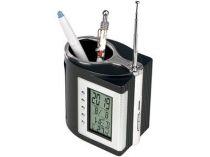 Подставка под ручки с часами, датой, термометром, таймером и радио купить