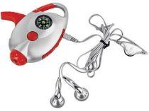 Радио с компасом, наушниками, фонарем и карабином для крепления на поясе, красное купить