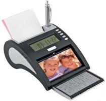 USB Hub на 4 порта с часами, калькулятором, календарем и рамкой для фотографии 10х5 см, серебристый купить