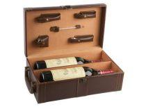 Набор аксессуаров для вина в кейсе для 2 бутылок: штопор-открывалка, воротничок на бутылку, пробка, термометр, устройство для аккуратного розлива вина купить