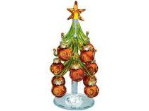 Стеклянная ёлка на зеркальной подставке с миниатюрными шариками, красные с золотистым орнаментом. Накануне Рождества елку надо нарядить и поставить в офисе или дома. Праздничное настроение и удача гарантированы… купить